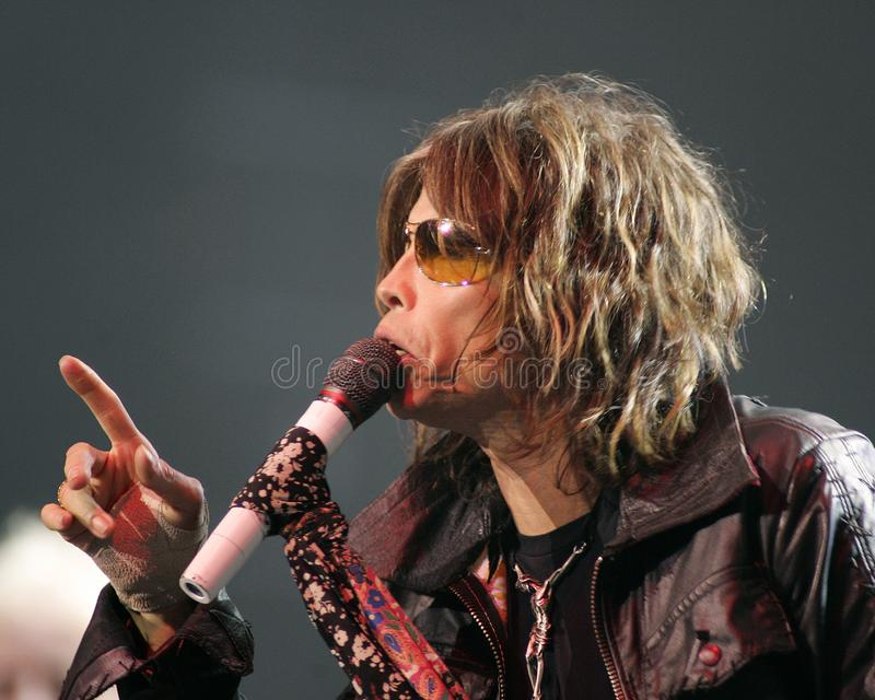 Aerosmith performs in concert. Steven Tyler with Aerosmith performs in concert at the Seminole Hard Rock Hotel and Casino in Hollywood, Florida on March 2, 2006 stock image