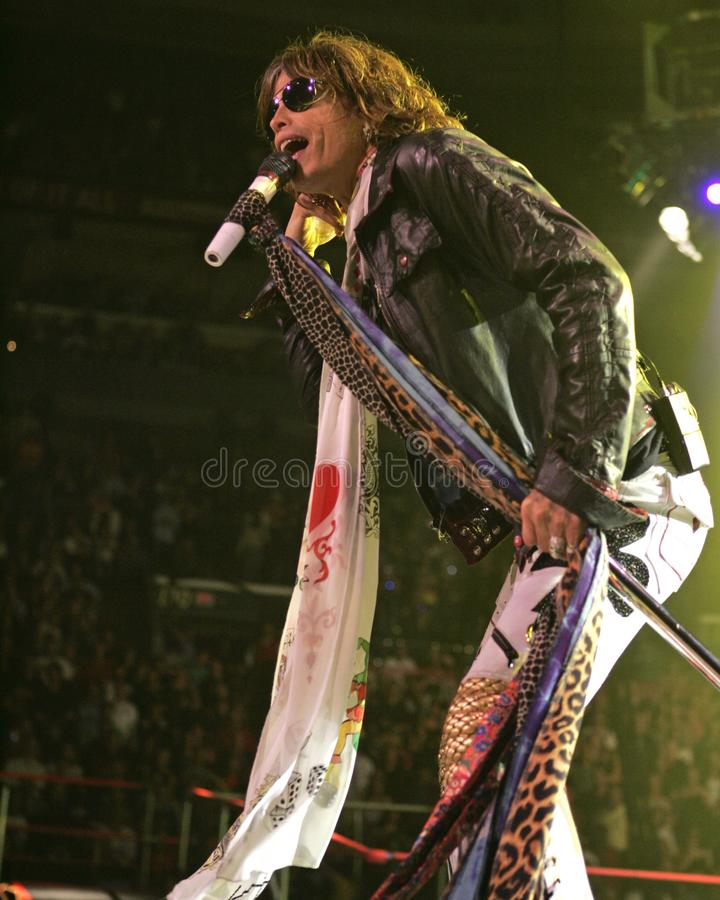 Aerosmith performs in concert. Steven Tyler with Aerosmith performs in concert at the Bank Atlantic Center in Sunrise Florida, on January 19, 2006 royalty free stock photo