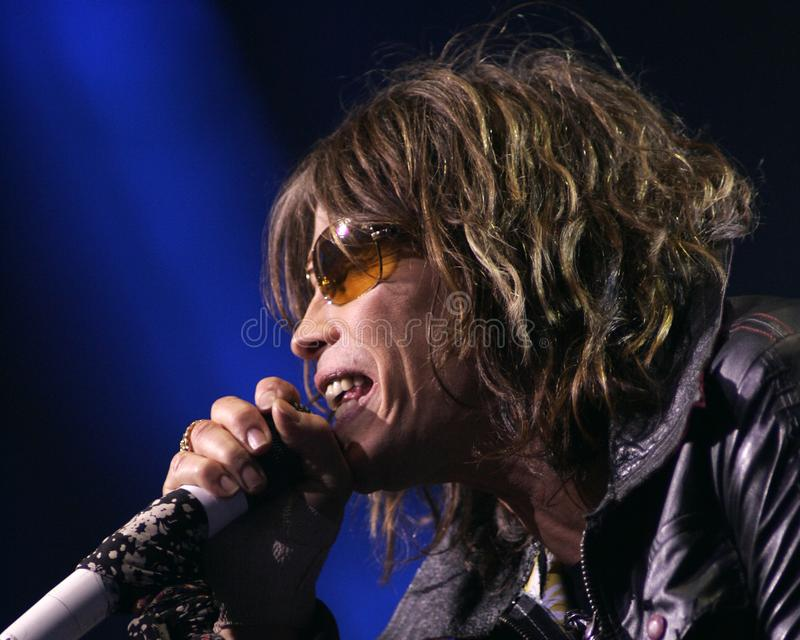 Aerosmith performs in concert. Steven Tyler with Aerosmith performs in concert at the Seminole Hard Rock Hotel and Casino in Hollywood, Florida on March 2, 2006 royalty free stock photo