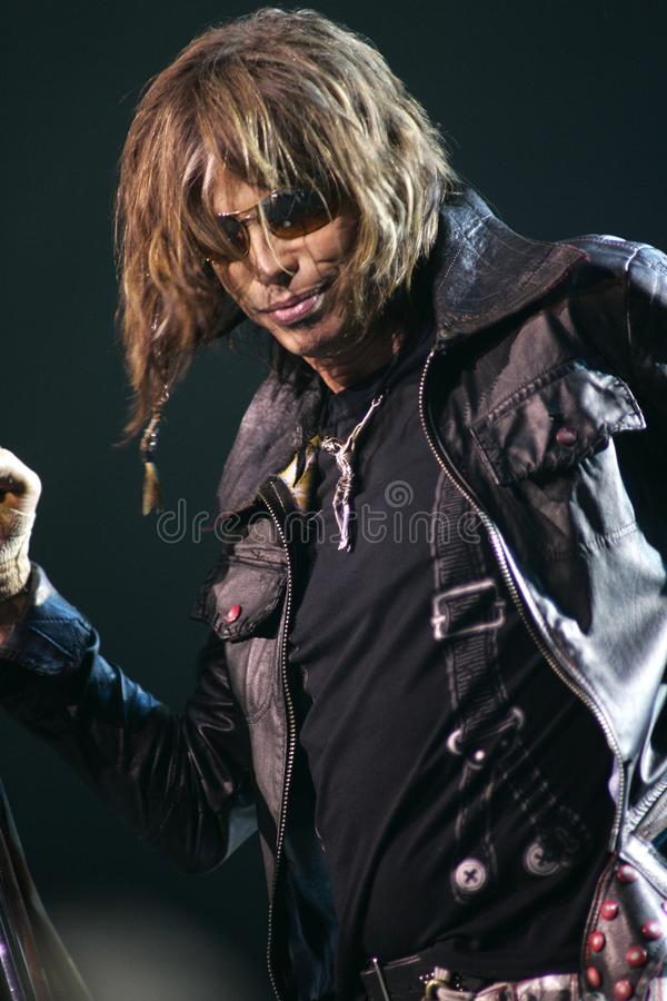 Aerosmith performs in concert. Steven Tyler with Aerosmith performs in concert at the Seminole Hard Rock Hotel and Casino in Hollywood, Florida on March 2, 2006 royalty free stock photography