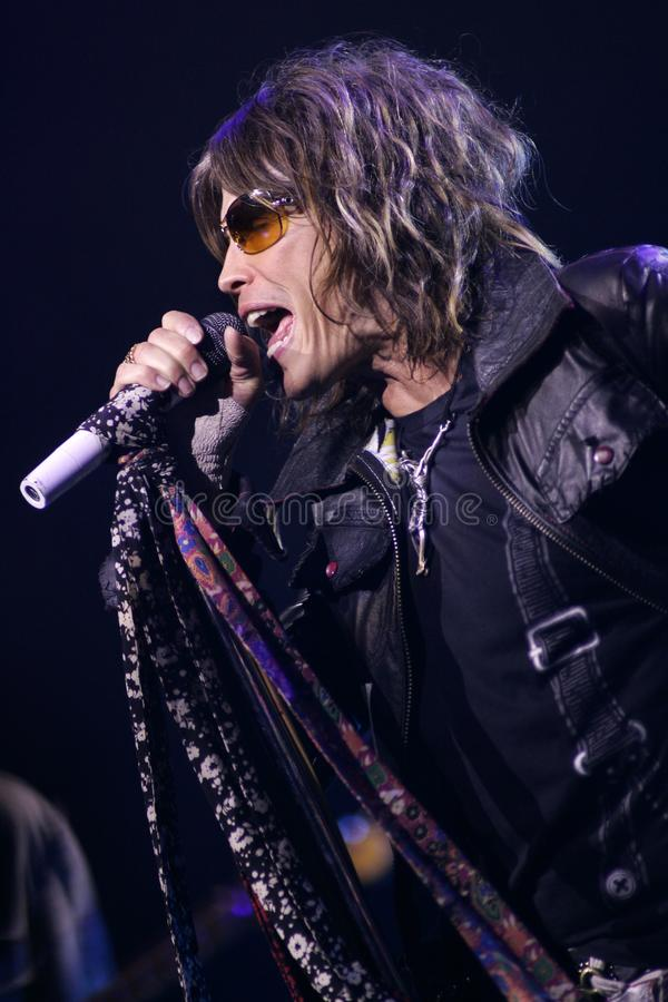 Aerosmith performs in concert. Steven Tyler with Aerosmith performs in concert at the Seminole Hard Rock Hotel and Casino in Hollywood, Florida on March 2, 2006 royalty free stock photos