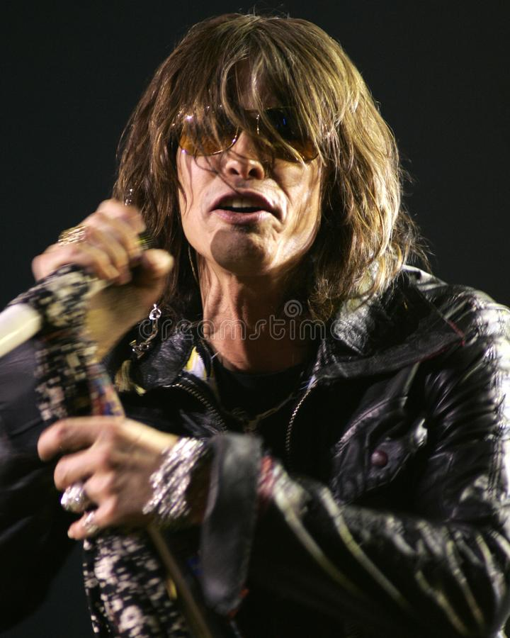 Aerosmith performs in concert. Steven Tyler with Aerosmith performs in concert at the Seminole Hard Rock Hotel and Casino in Hollywood, Florida on March 2, 2006 royalty free stock images