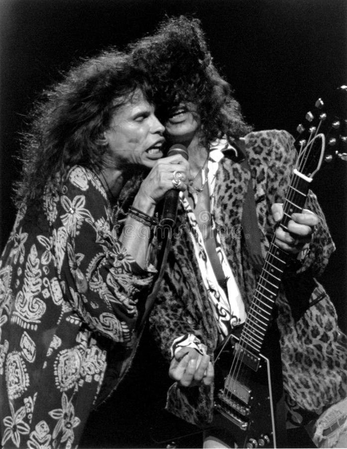 Aerosmith - Steven Tyler & Joe Perry - Boston Garden 1989 by Eric L. Johnson royalty free stock image