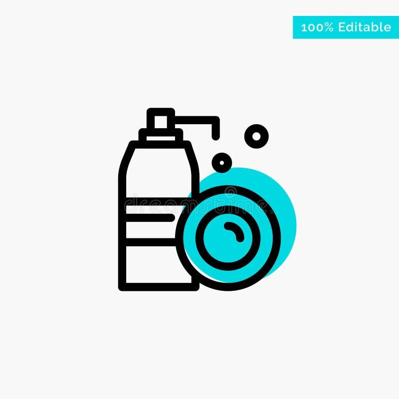 Aerosol, butelka, Czyści, kiści głównej atrakcji okręgu punktu wektoru turkusowa ikona ilustracja wektor