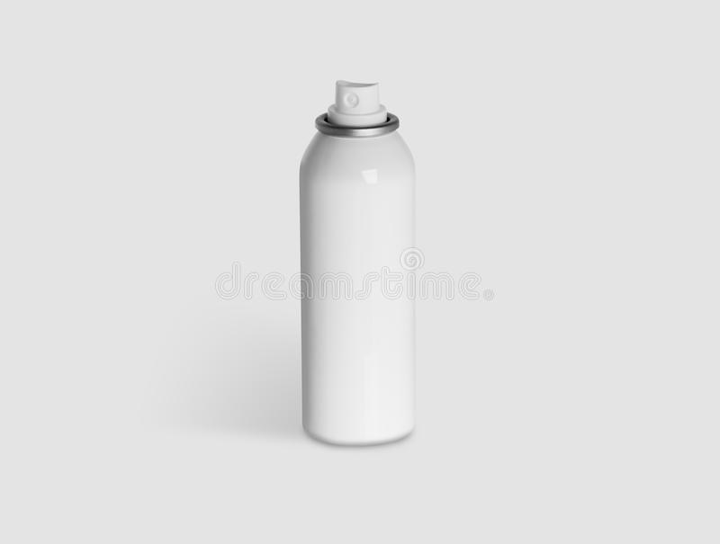 Aerosol Cap. Neutral spray can in white metal stock photography