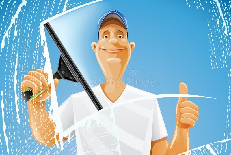 Aerosol del enjugador de la ventana de la limpieza del hombre libre illustration