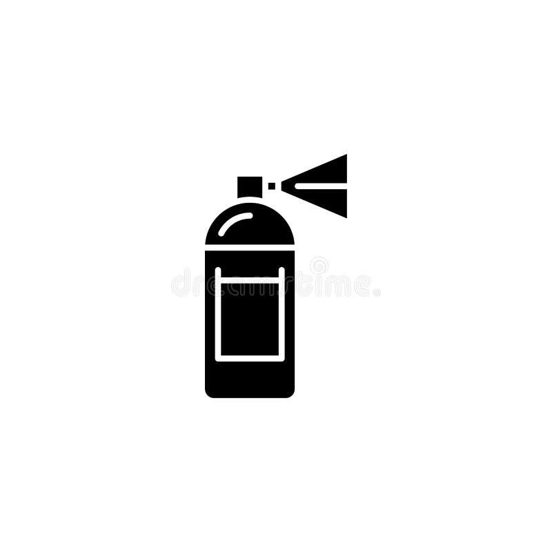 Aerosol paint black icon concept. Aerosol paint flat vector symbol, sign, illustration. Aerosol paint black icon concept. Aerosol paint flat vector website sign royalty free illustration