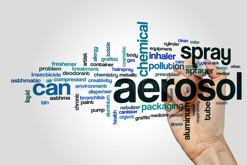 Aerosol word cloud. Concept on grey background stock photo