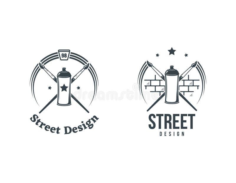 Aerosolgraffitifarbenspray- und -bürstenlogo Gestaltungselemente, Ikonen, Embleme, Ausweise lizenzfreie abbildung