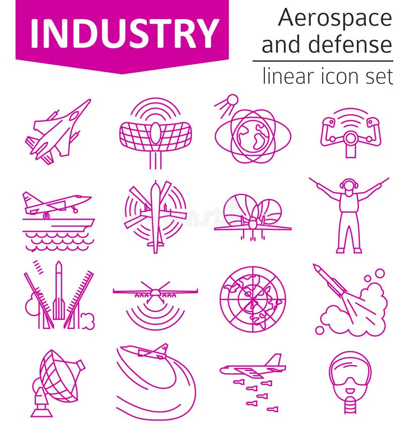 Aerospace and defense, military aircraft icon set. Thin line design for creating infographics. Vector illustration royalty free illustration