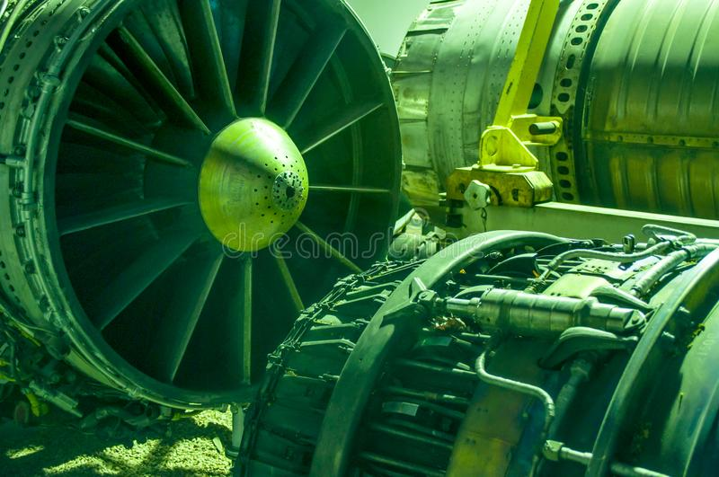Aerospace engineering, pieces of aircraft machinery,. At the barrack inside royalty free stock photos