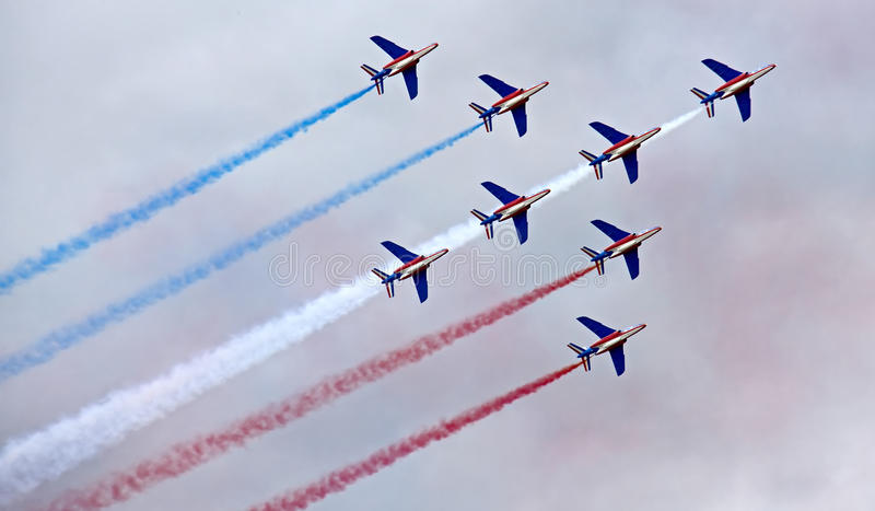 Aerospace Show MAKS-2009 (5). Aerospace Show MAKS-2009. Moscow, 18-23 august 2009. French pilotage group Patrouille de France royalty free stock photos