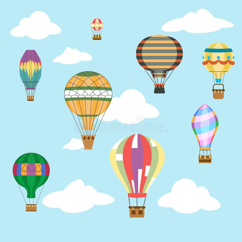 Aerostat air balloon sky clouds flight travel basket retro airship cartoon icons set design vector illustration. Aerostat air balloon sky clouds flight basket royalty free illustration