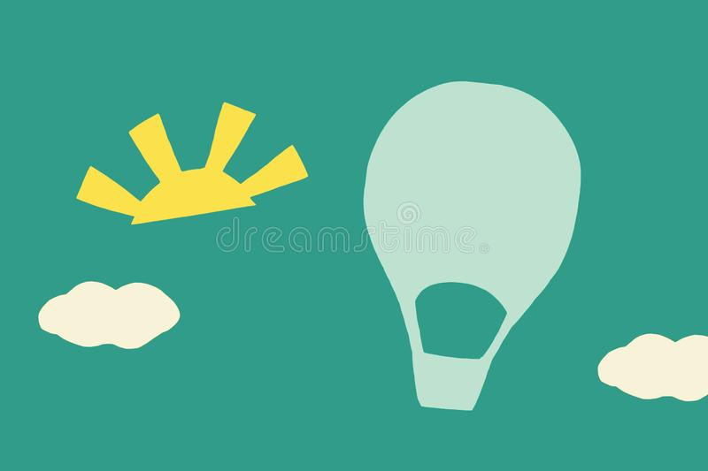 Aerostat on blue background. Sun clouds stock images
