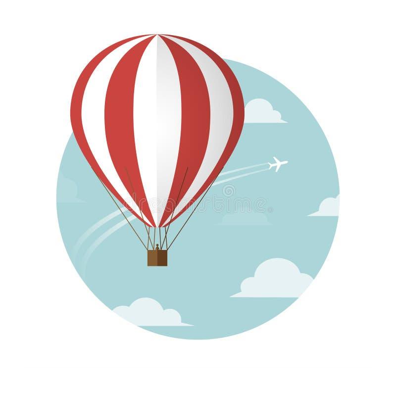 Aerostat i samolot w niebie royalty ilustracja