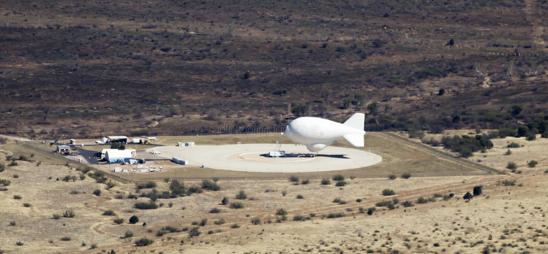 An Aerostat Moored at Fort Huachuca, Arizona. FORT HUACHUCA, ARIZONA, APRIL 8: An aerostat balloon moored on April 8, 2017, at Fort Huachuca, Arizona. Known as ` stock image