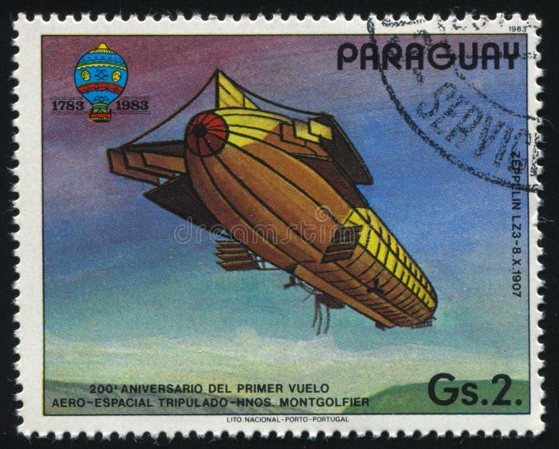 Aerostat. RUSSIA KALININGRAD, 22 APRIL 2017: stamp printed by Paraguay, shows aerostat, circa 1983 royalty free stock photos