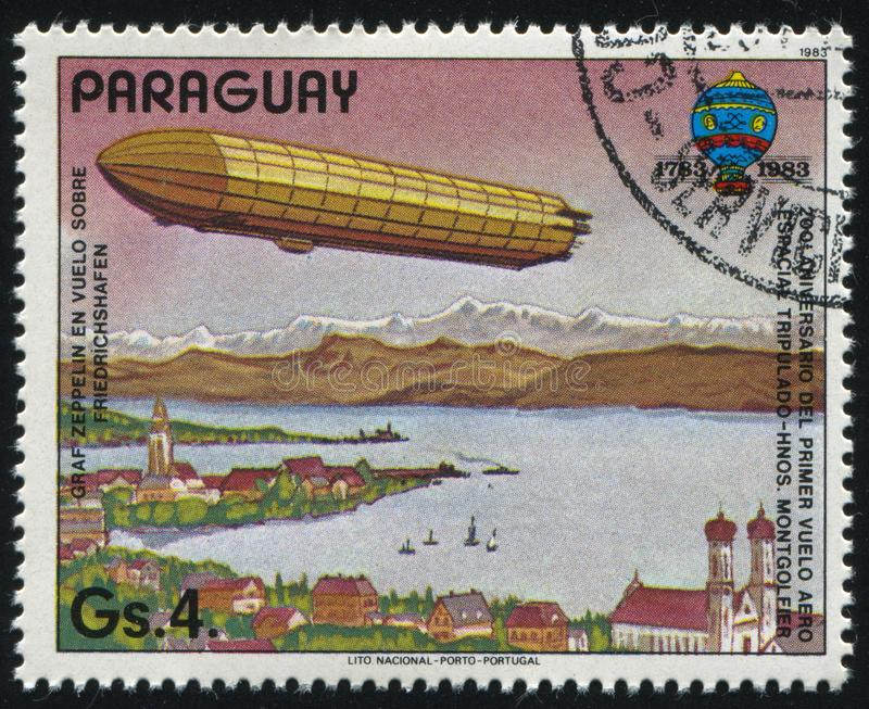 Aerostat. RUSSIA KALININGRAD, 22 APRIL 2017: stamp printed by Paraguay, shows aerostat, circa 1983 royalty free stock images