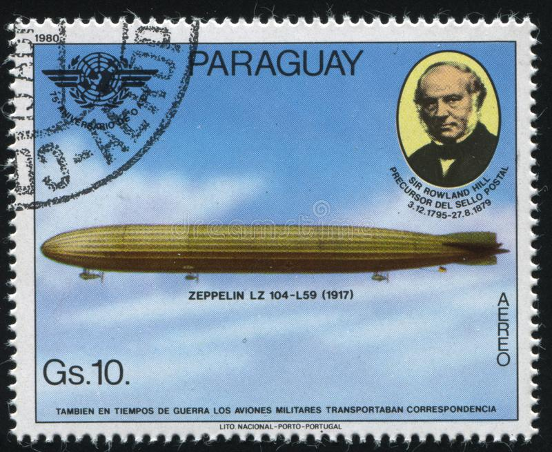 Aerostat. RUSSIA KALININGRAD, 22 APRIL 2017: stamp printed by Paraguay, shows aerostat, circa 1980 stock image