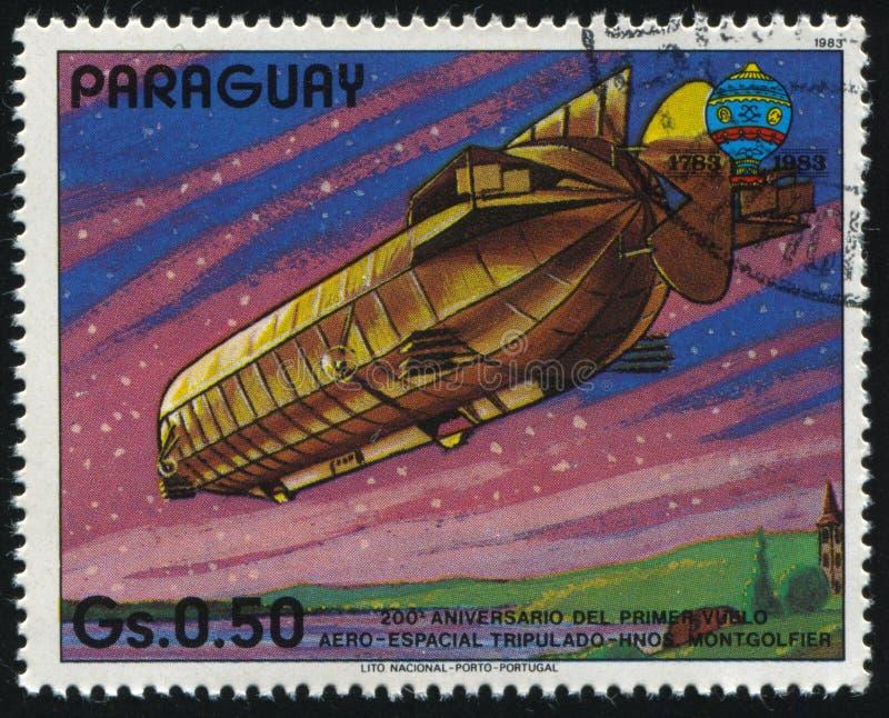 Aerostat. RUSSIA KALININGRAD, 22 APRIL 2017: stamp printed by Paraguay, shows aerostat, circa 1983 royalty free stock photo