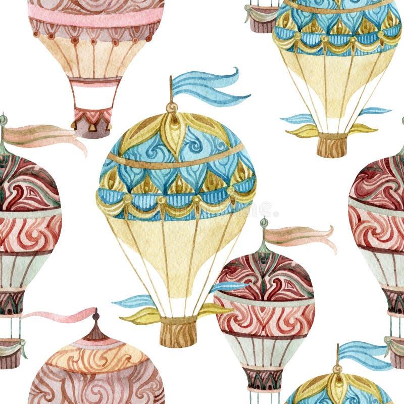 Aerostata bezszwowy wzór Akwareli gorącego powietrza balony ilustracja wektor