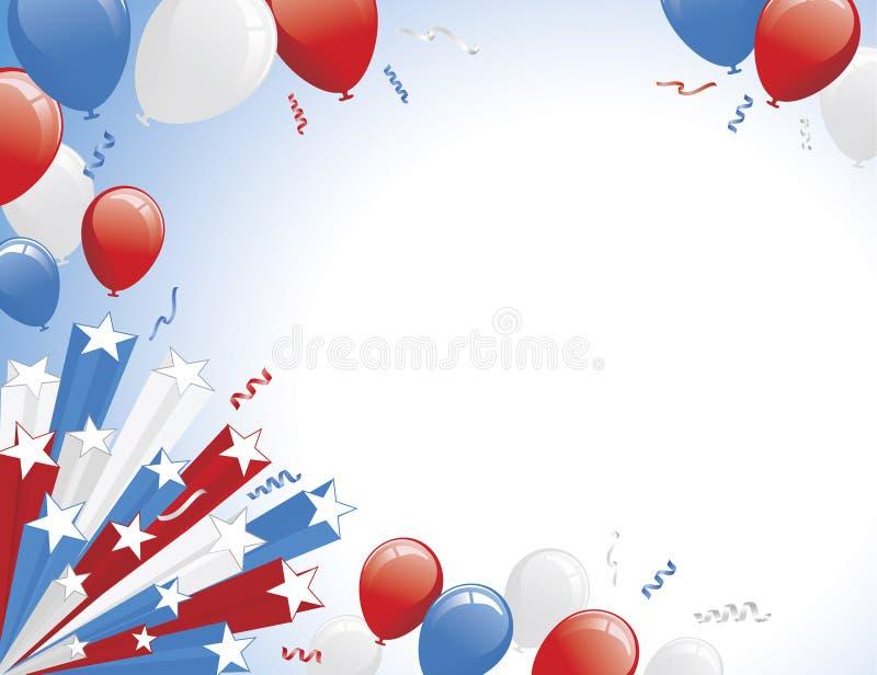 Aerostati blu bianchi rossi e burst della stella illustrazione di stock