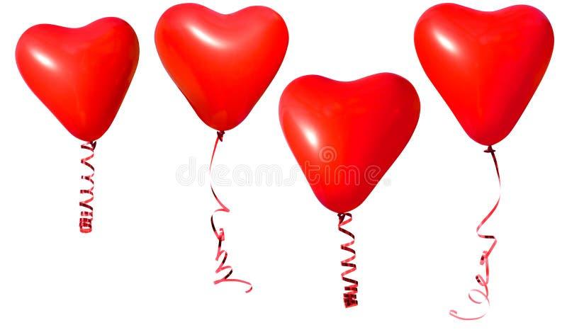 Aerostati del cuore del biglietto di S. Valentino immagini stock libere da diritti