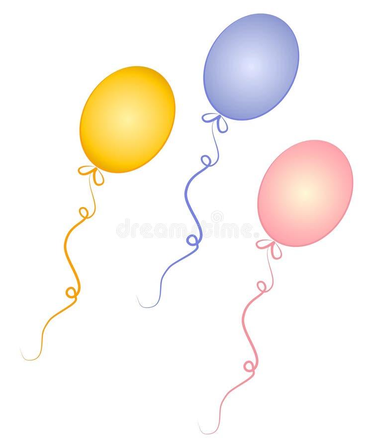 Aerostati di compleanno per il bambino illustrazione vettoriale