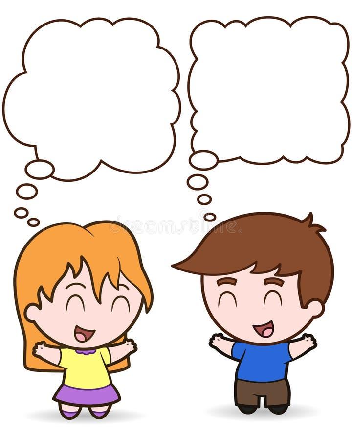 Aerostati felici di pensiero dei bambini - illustrat illustrazione di stock