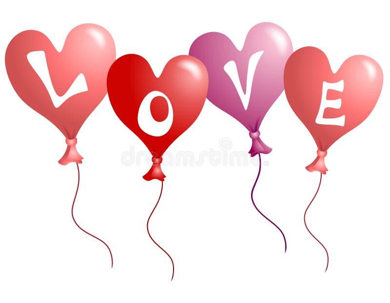 Aerostati a forma di del cuore di amore di giorno del biglietto di S. Valentino illustrazione di stock