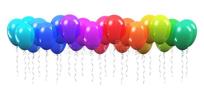 Aerostati gonfiabili di colore dell'arcobaleno illustrazione vettoriale