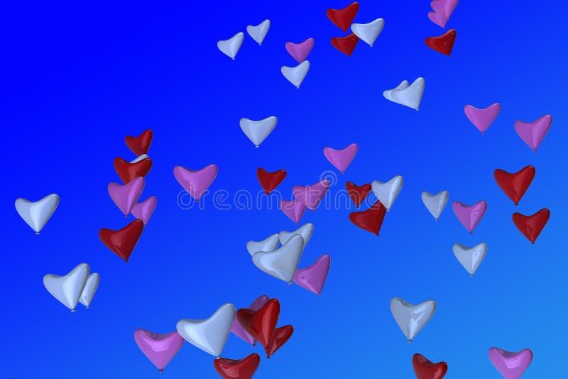 Download Aerostati Heart-shaped In Cielo Illustrazione di Stock - Illustrazione di estate, background: 21550172