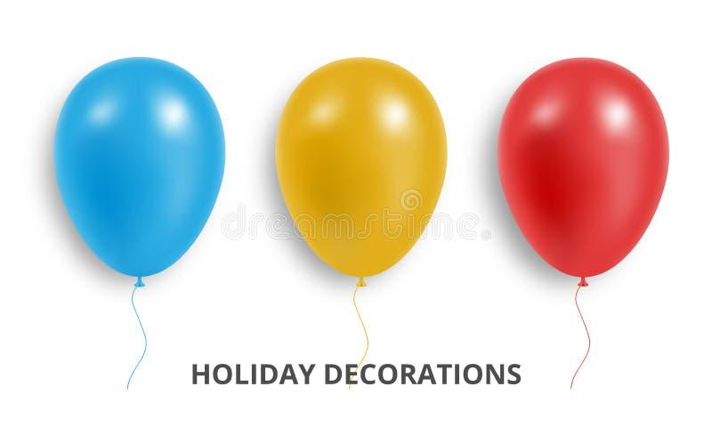 aerostati Insieme dei palloni rossi, blu e gialli realistici Decorazioni del pallone di festa royalty illustrazione gratis