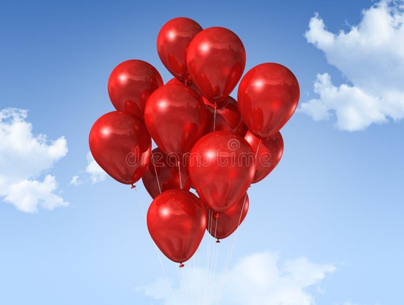 Aerostati rossi su un cielo blu royalty illustrazione gratis