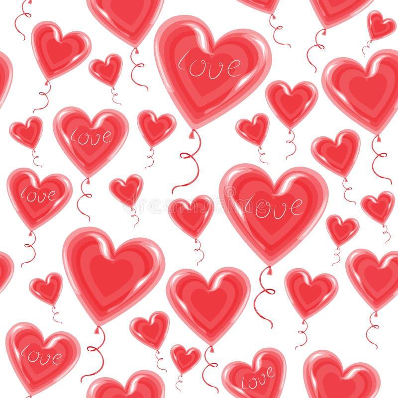 Aerostati sotto forma di mosca del cuore nel cielo Un simbolo di amore e degli amanti Giorno del `s del biglietto di S Illustrazi illustrazione vettoriale