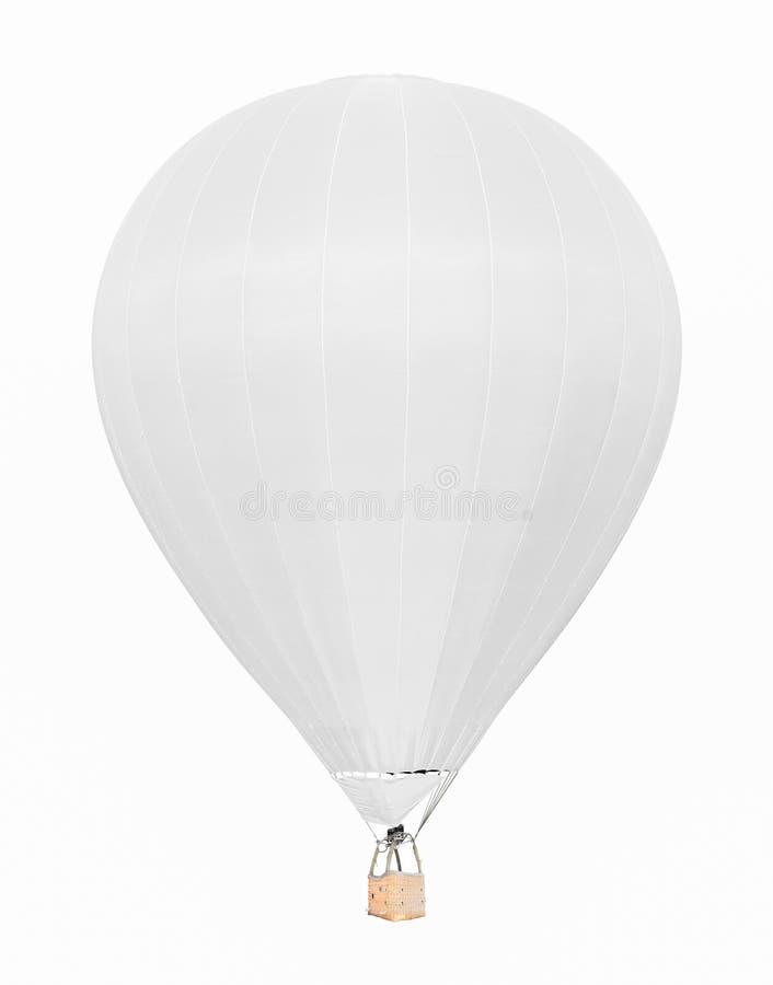 Aerostato bianco caldo con il canestro isolato su fondo bianco fotografia stock libera da diritti