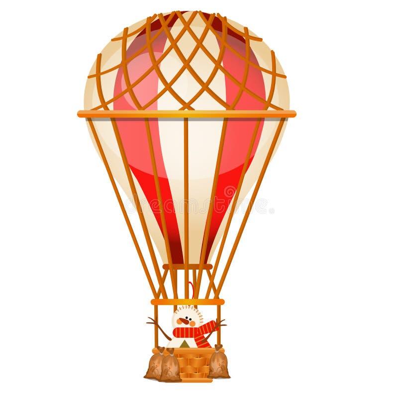 Aerostato brillante con el muñeco de nieve aislado en el fondo blanco Transporte aéreo del vintage para el viaje en todo el mundo libre illustration