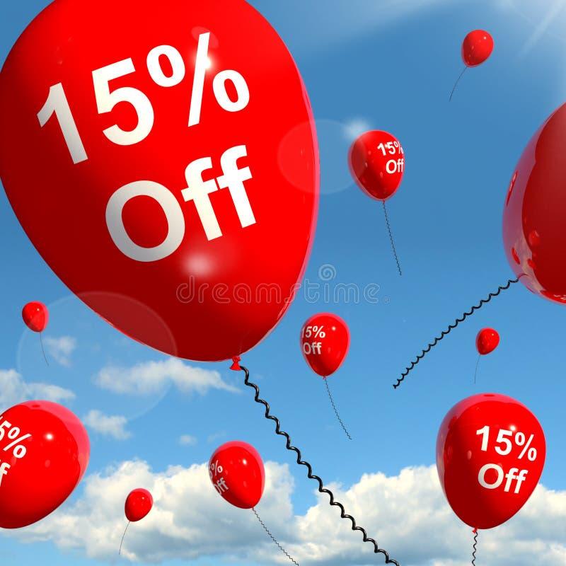 Aerostato con 15% fuori dalla mostra della vendita illustrazione di stock
