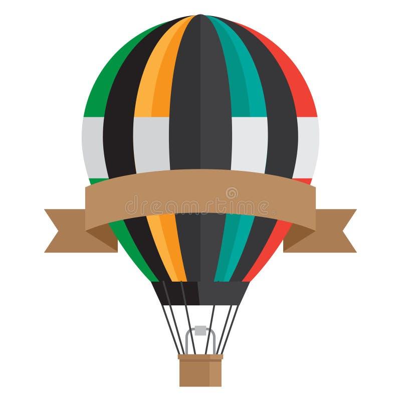 Aerostato del estilo del vintage con la bandera de la cinta - globo del aire caliente del vector aislado en el fondo blanco libre illustration