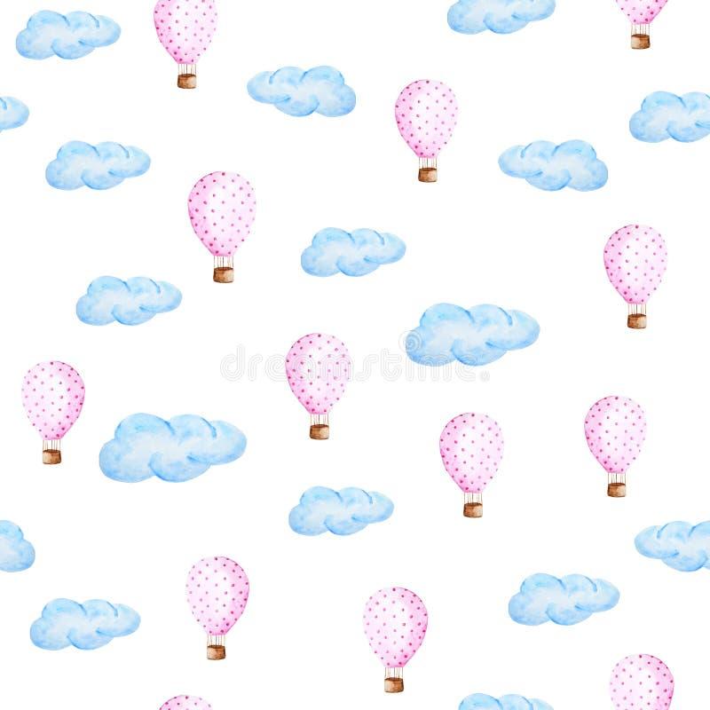 Aerostato dell'acquerello e modello delle nuvole Palloni disegnati a mano con il modello di pois royalty illustrazione gratis