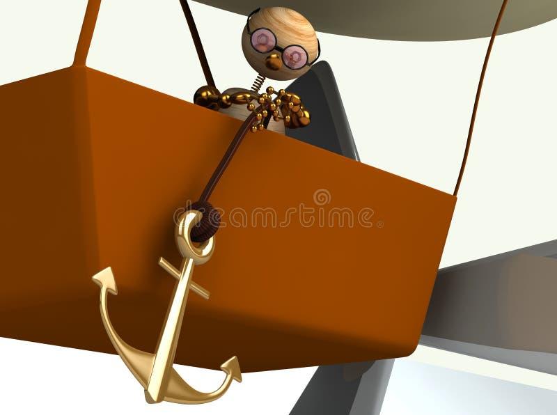 aerostato di dirigible 3d con l'uomo di legno illustrazione di stock