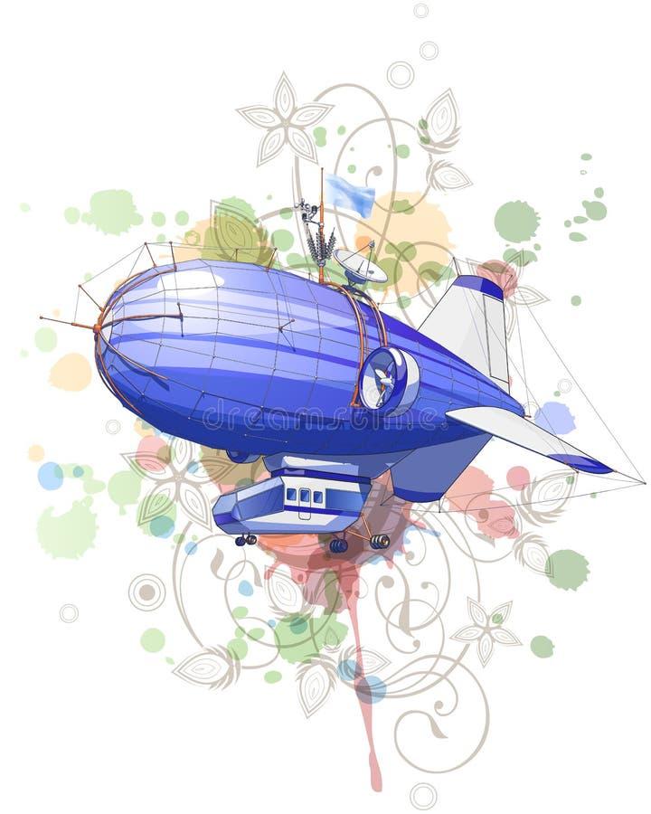 Aerostato di Dirigible & ornamento floreale royalty illustrazione gratis