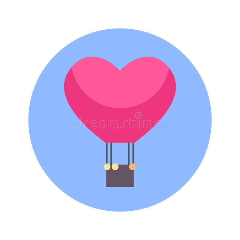 Aerostato di volo nell'icona di forma del cuore su fondo rotondo blu isolato royalty illustrazione gratis