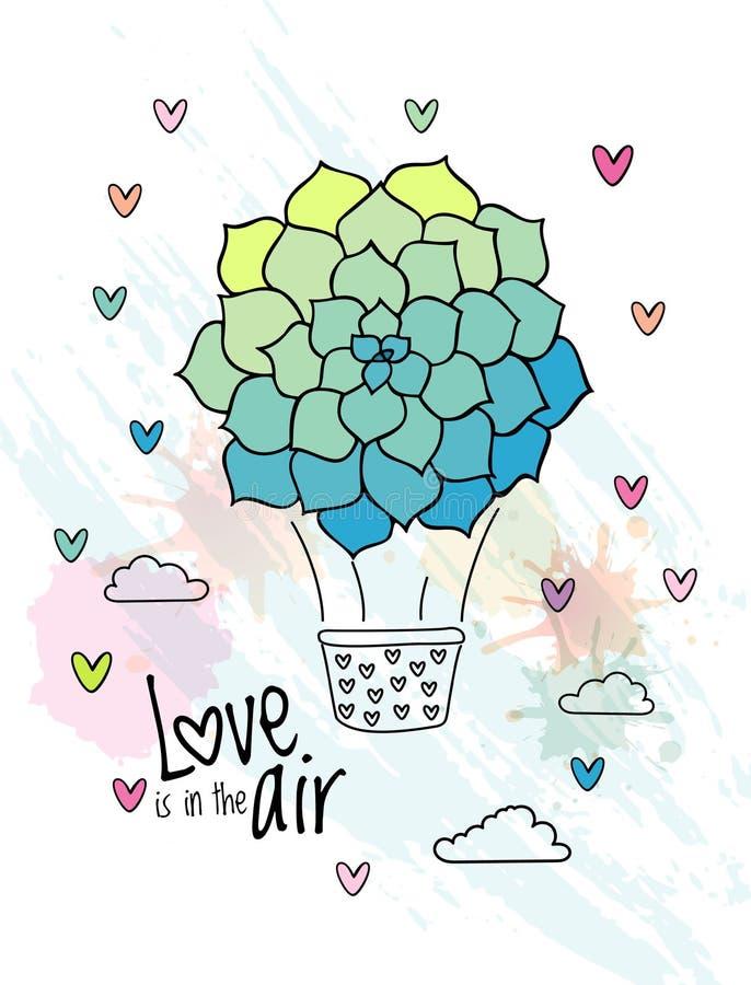 Aerostato dibujado mano con el globo suculento de la flor stock de ilustración