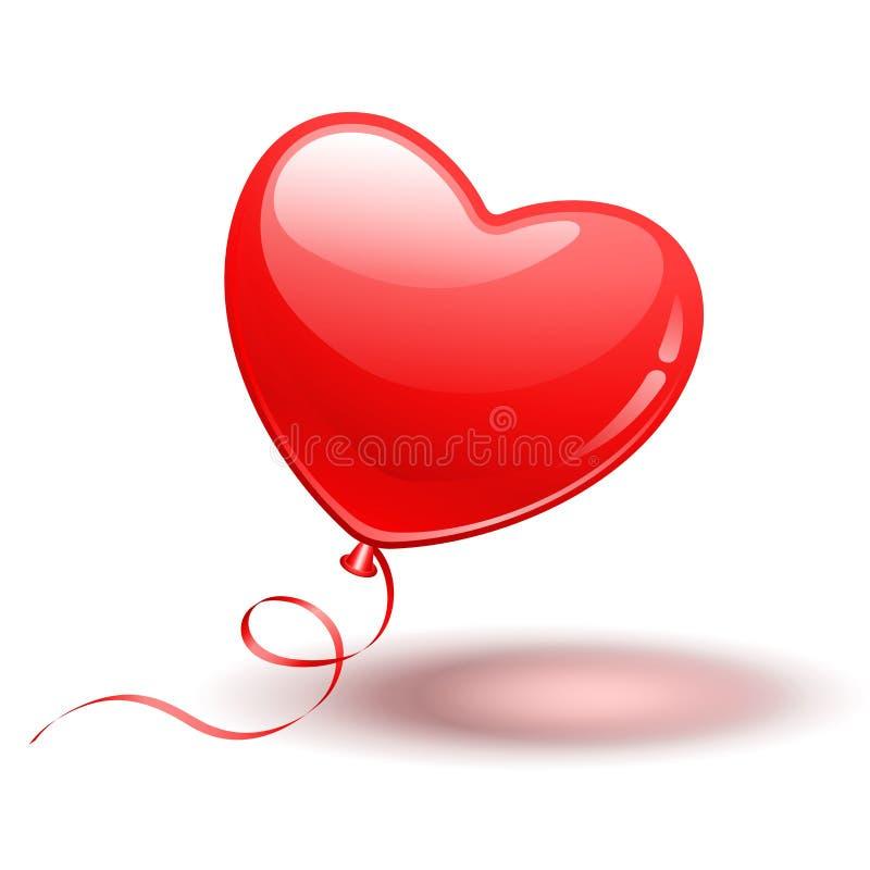 Aerostato rosso di figura del cuore illustrazione vettoriale