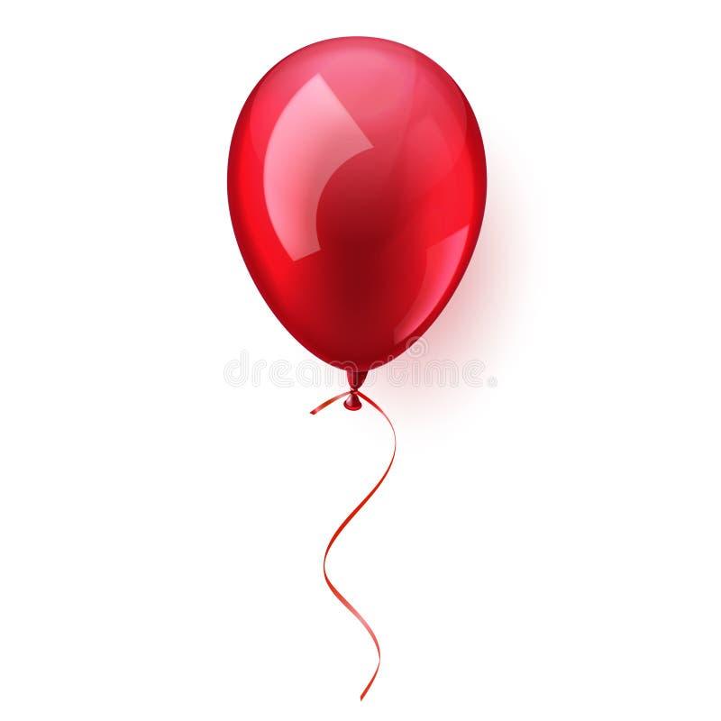 Aerostato volante lucido variopinto realistico isolato Festa di compleanno Nastro celebrazione Nozze o anniversario Vettore illustrazione di stock