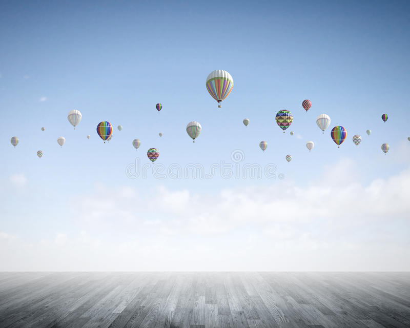 Aerostats in sky royalty free stock image
