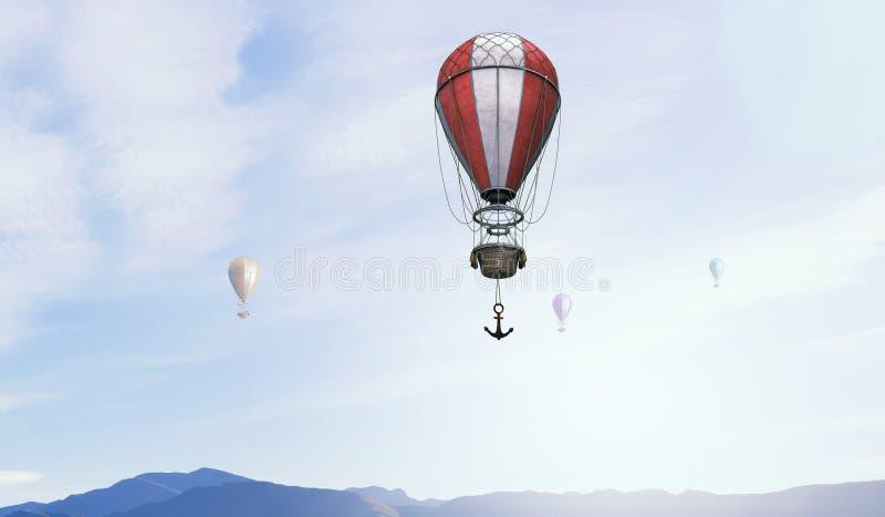 Aerostats som flyger över himmel Blandat massmedia arkivbilder