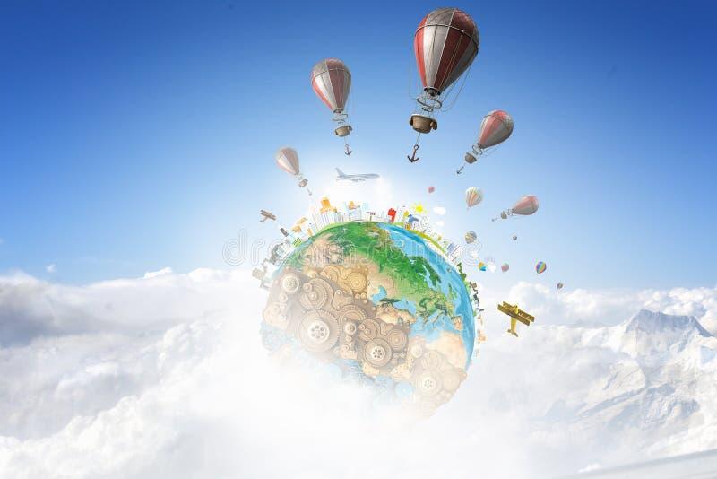 Aerostats som flyger över himmel Blandat massmedia royaltyfria bilder