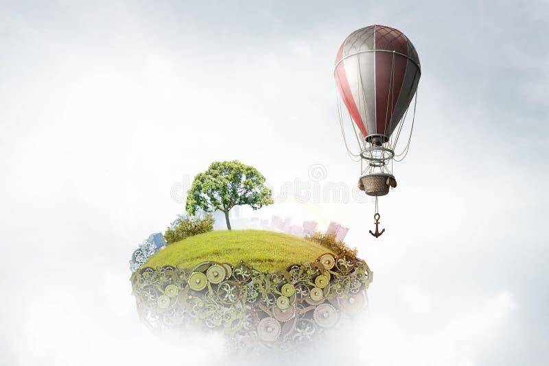 Aerostats som flyger över himmel Blandat massmedia royaltyfri fotografi